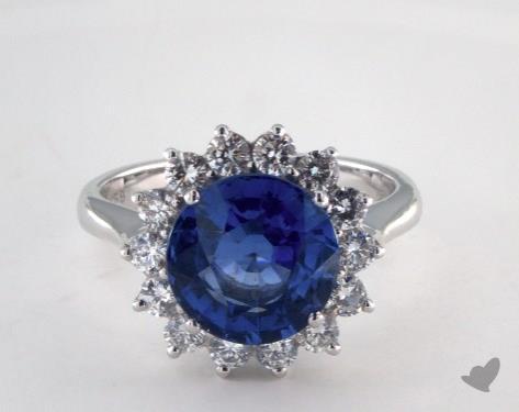 18K White Gold 4.38ct Round Blue Sapphire Starburst Ring