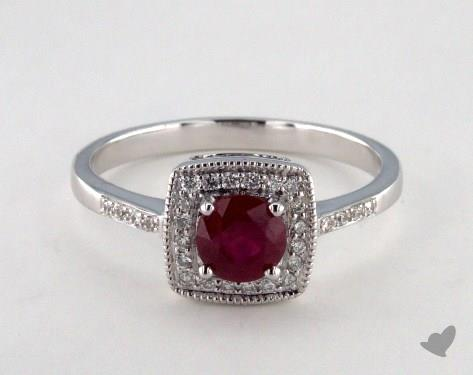18K White Gold 0.70ct Ruby Cushion Shape Frame Ring