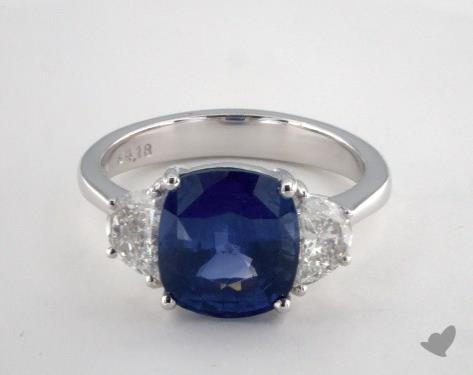 Platinum 4.18ct Cushion Shape Blue Sapphire Ring