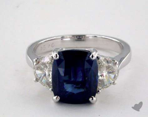 18K White Gold 5.40ct Cushion Shape Blue Sapphire Ring