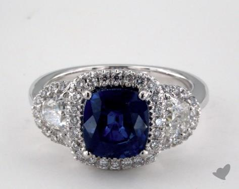 18K White Gold 2.90ct Cushion Shape Blue Sapphire Ring