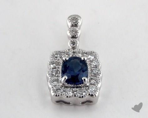 18K White Gold - 0.50ct Oval- - Blue Sapphire Pendant