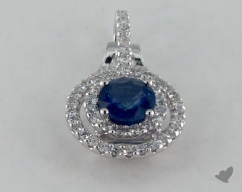 18K White Gold - 0.60ct Round- - Blue Sapphire Pendant