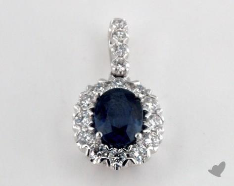 18K White Gold - 1.45ct Oval- - Blue Sapphire Pendant