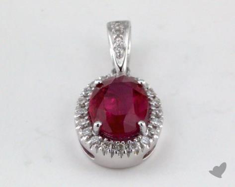18K White Gold - 1.15ct - Oval - Ruby Pendant