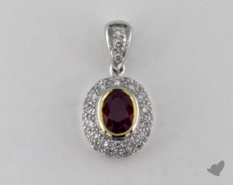 18k two tone - 0.82ct - Oval - Ruby Pendant