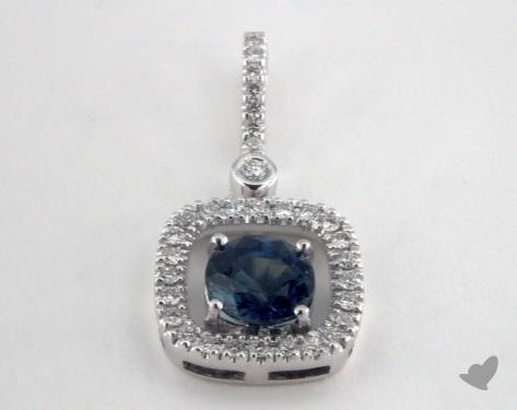 18K White Gold - 1.10ct Round- - Blue Sapphire Pendant