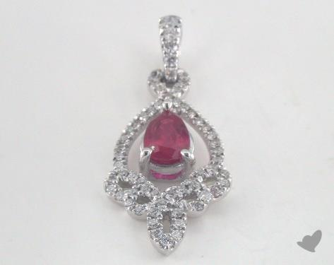 18K White Gold - 0.50ct - Pear - Ruby Pendant