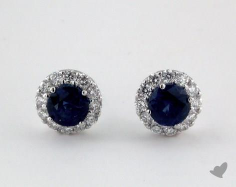 18K White Gold Diamond Halo 1.00tcw Round Blue Sapphire Earrings.