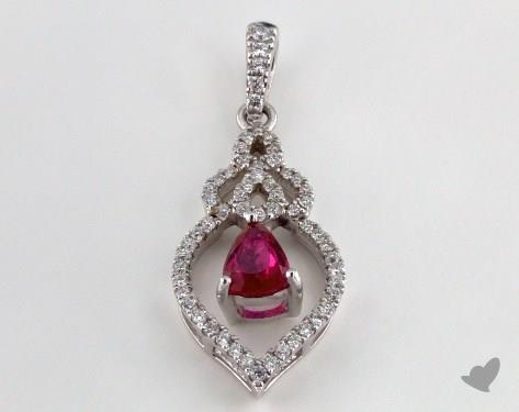 18K White Gold - 0.45ct - Pear - Ruby Pendant