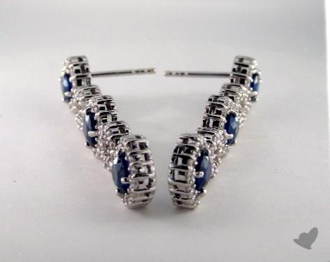 18K White Gold Stationary 3.58tcw Diamond and Round Blue Sapphire Earrings.