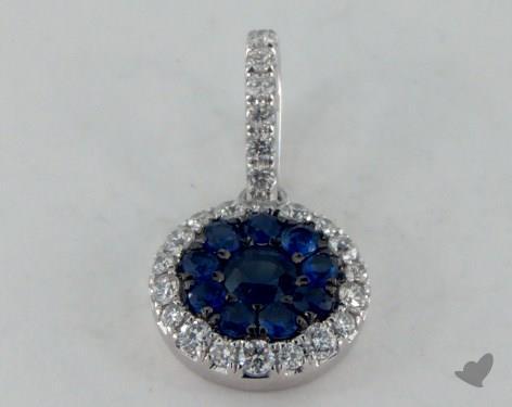 18K White Gold - 0.40ct Round- - Blue Sapphire Pendant