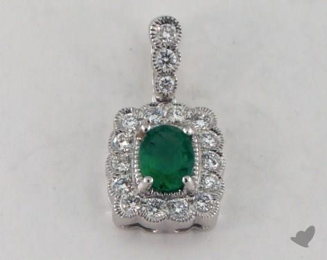 18K White Gold - 0.30ct - Oval - Green Emerald Pendant