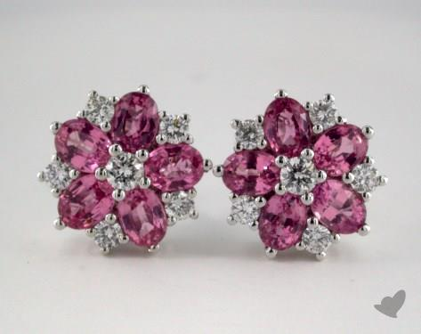 18K White Gold Starburst 2.55tcw Oval Pink Sapphire and Diamond Earrings.