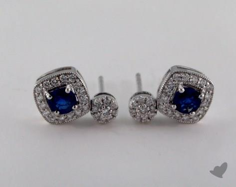 18K White Gold 0.85tcw Diamond Pave Cushion Shaped Round Blue Sapphire Earrings.