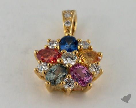 18K Yellow Gold - 1.28ct - Oval - Multi Color Pendant
