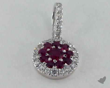 18K White Gold - 0.40ct - Round - Ruby Pendant
