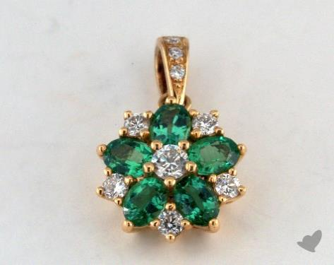 18K Yellow Gold - 0.70ct - Oval - Green Emerald Pendant