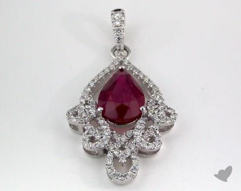 18K White Gold - 1.93ct - Pear - Ruby Pendant
