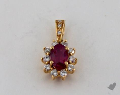 18K Yellow Gold - 0.76ct - Oval - Ruby Pendant