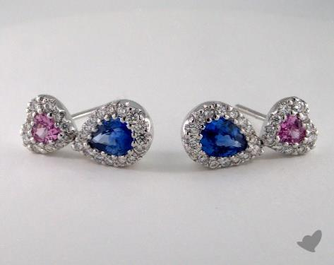18K White Gold Diamond Halo 1.60tcw Gemstone Earrings.