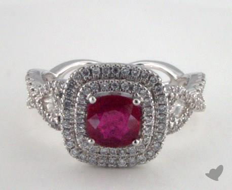 18K White Gold 0.97ct Cushion Shape Ruby Double Halo Ring