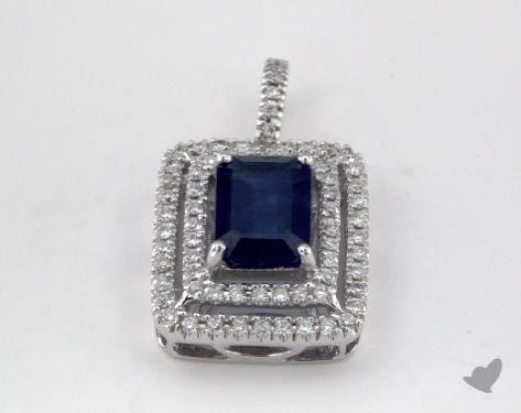 18K White Gold - 1.01ct Emerald- - Blue Sapphire Pendant