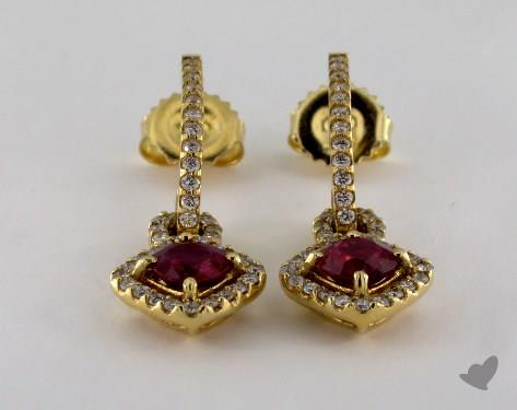 18K White Gold Pave Halo Diamond 1.77tcw Round Ruby Earrings.