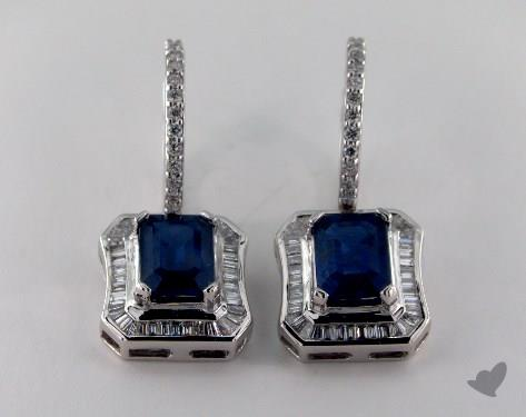 18K White Gold Diamond Framed 3.93tcw Emerald Shaped Blue Sapphire Earrings.