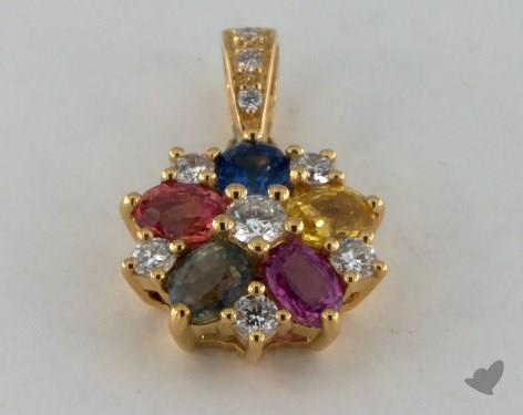 18K Yellow Gold - 1.26ct - Oval - Multi Color Pendant