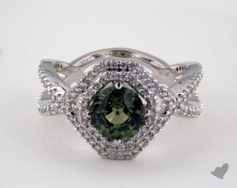 18K White Gold - 1.42ct - Round - Green Sapphire -