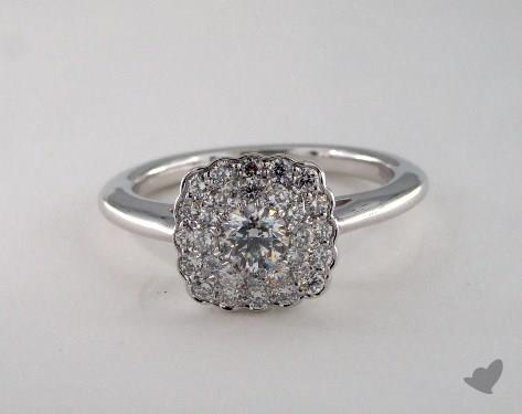 Platinum Royal Halo Scallop Cushion Outline Engagement Ring