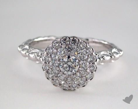 Platinum Royal Scallop Halo Diamond Engagement Ring