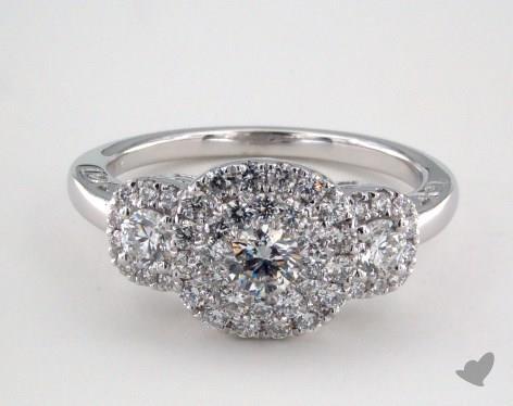 Platinum Royal HaloThree Stone Cushion Shape Pave Engagement Ring