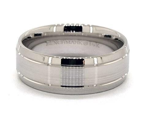 Platinum 8mm Etched Comfort Fit Wedding Band