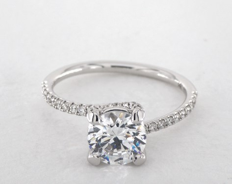 18K White Gold Twist Pave ZE102 Designer Engagement Ring by Danhov