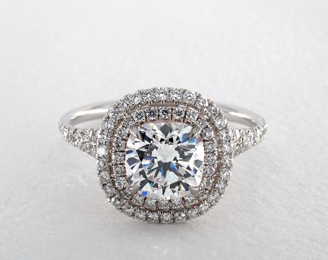 Platinum Pave Double Halo Engagement Ring with Pave Split Shank Design