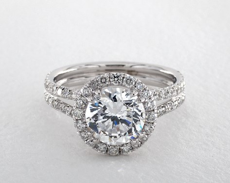 18K White Gold Double Shank Pave Halo Engagement Ring