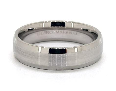 18K White Gold 6mm Beveled Comfort Fit Wedding Band