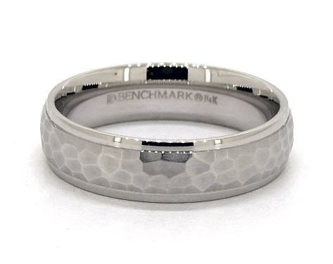 14K White Gold 6mm Hammered Comfort Fit Wedding Band