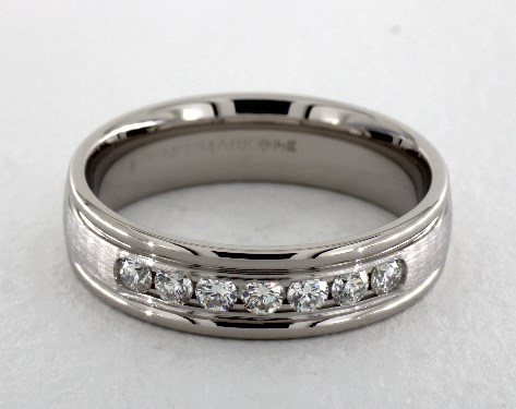 14K White Gold 6mm Channel Set Diamond Wedding Ring