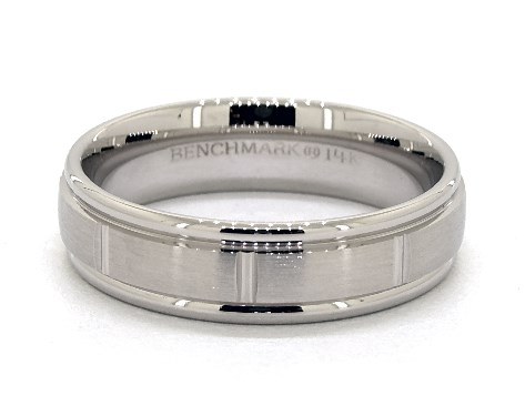 18K White Gold 6mm Grooved Comfort Fit Wedding Band
