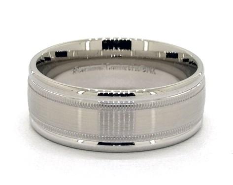 Platinum 8mm Milgrained Edge Comfort Fit Wedding Band