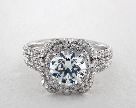 14K White Gold Floral Embellished Pave Halo Engagement Ring