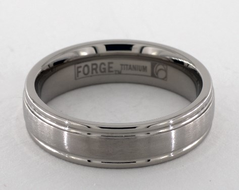 Titanium 6mm Comfort-Fit Satin-Finished Round Edge Design Ring