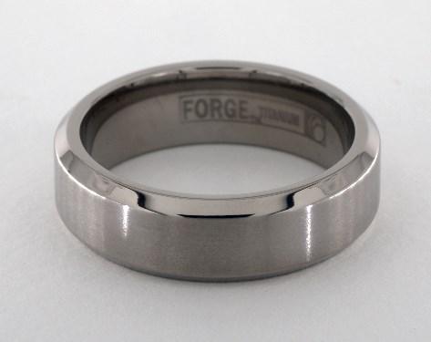 Titanium 7mm Comfort-Fit Satin-Finished Beveled Edge Design Ring