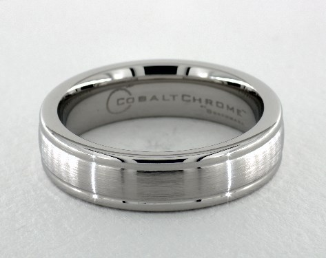 Cobalt chrome™ 6mm Comfort-Fit Satin-Finished Round Edge Design Ring