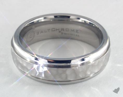 Cobalt chrome™ 7mm Comfort-Fit Hammered-Finished Design Ring