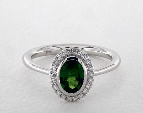 14K White Gold Bezel Set Pave Halo Engagement Ring