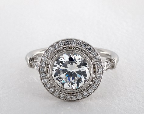 Milgrain Accented Pave Halo Engagement Ring 14K White Gold